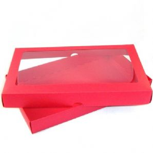 "6"" x 10"" Red Keepsake Greeting Card Box with Acetate"
